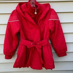 Girls hooded red coat size XL